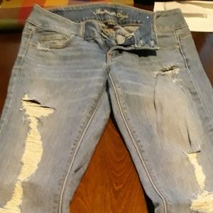 Size 2 AE American Eagle Holey Jeans Artist